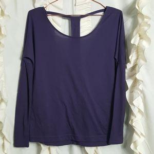 Alo yoga purple T-strap wrap back ribbed sleeves
